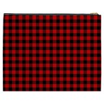 Lumberjack Plaid Fabric Pattern Red Black Cosmetic Bag (XXXL)  Back