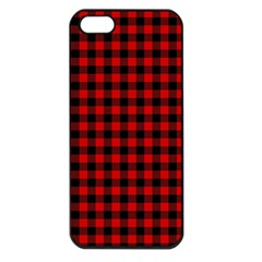 Lumberjack Plaid Fabric Pattern Red Black Apple iPhone 5 Seamless Case (Black)