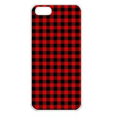 Lumberjack Plaid Fabric Pattern Red Black Apple Iphone 5 Seamless Case (white)