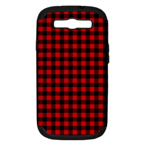 Lumberjack Plaid Fabric Pattern Red Black Samsung Galaxy S III Hardshell Case (PC+Silicone)