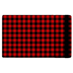 Lumberjack Plaid Fabric Pattern Red Black Apple Ipad 2 Flip Case