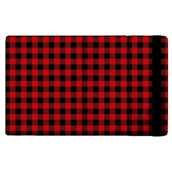 Lumberjack Plaid Fabric Pattern Red Black Apple iPad 3/4 Flip Case