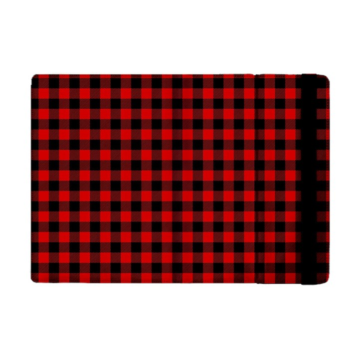 Lumberjack Plaid Fabric Pattern Red Black Apple iPad Mini Flip Case
