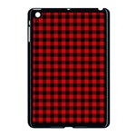 Lumberjack Plaid Fabric Pattern Red Black Apple iPad Mini Case (Black) Front