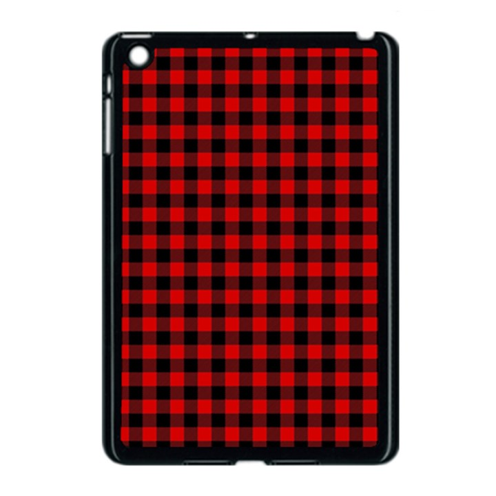 Lumberjack Plaid Fabric Pattern Red Black Apple iPad Mini Case (Black)