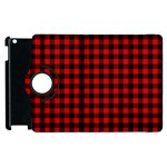 Lumberjack Plaid Fabric Pattern Red Black Apple iPad 2 Flip 360 Case Front