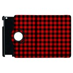 Lumberjack Plaid Fabric Pattern Red Black Apple iPad 3/4 Flip 360 Case Front