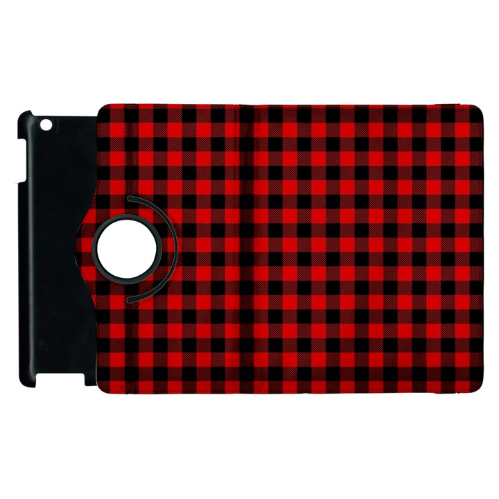 Lumberjack Plaid Fabric Pattern Red Black Apple iPad 3/4 Flip 360 Case