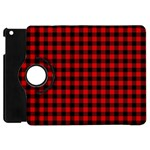 Lumberjack Plaid Fabric Pattern Red Black Apple iPad Mini Flip 360 Case Front