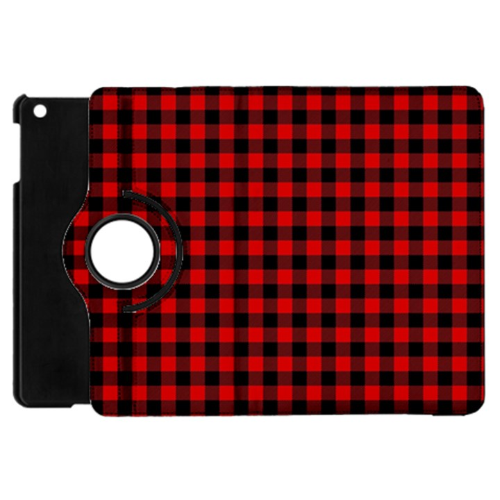 Lumberjack Plaid Fabric Pattern Red Black Apple iPad Mini Flip 360 Case