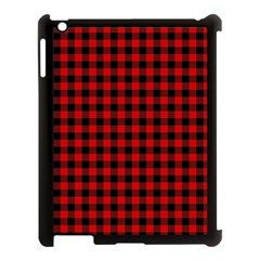 Lumberjack Plaid Fabric Pattern Red Black Apple iPad 3/4 Case (Black)