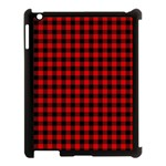 Lumberjack Plaid Fabric Pattern Red Black Apple iPad 3/4 Case (Black) Front