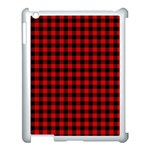 Lumberjack Plaid Fabric Pattern Red Black Apple iPad 3/4 Case (White) Front