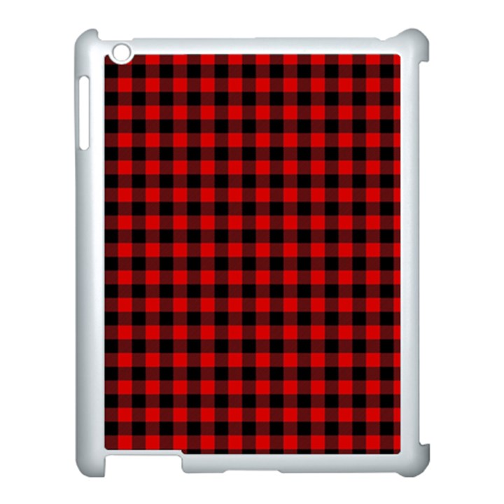 Lumberjack Plaid Fabric Pattern Red Black Apple iPad 3/4 Case (White)