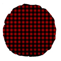 Lumberjack Plaid Fabric Pattern Red Black Large 18  Premium Round Cushions