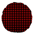 Lumberjack Plaid Fabric Pattern Red Black Large 18  Premium Round Cushions Back