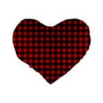 Lumberjack Plaid Fabric Pattern Red Black Standard 16  Premium Heart Shape Cushions Back