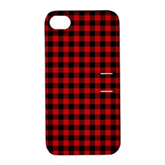 Lumberjack Plaid Fabric Pattern Red Black Apple iPhone 4/4S Hardshell Case with Stand