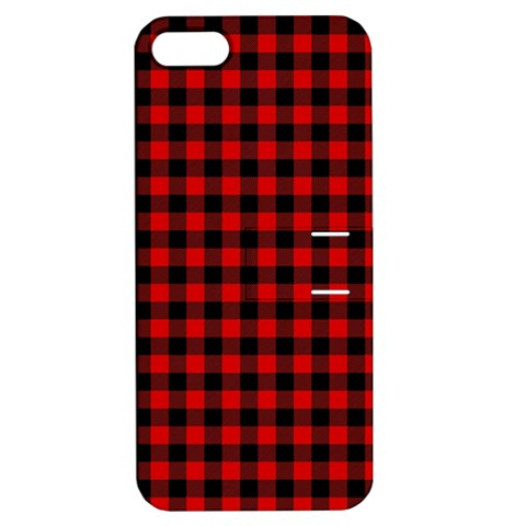 Lumberjack Plaid Fabric Pattern Red Black Apple iPhone 5 Hardshell Case with Stand