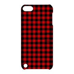 Lumberjack Plaid Fabric Pattern Red Black Apple iPod Touch 5 Hardshell Case with Stand