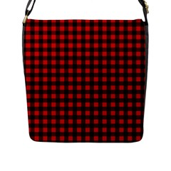 Lumberjack Plaid Fabric Pattern Red Black Flap Messenger Bag (l)