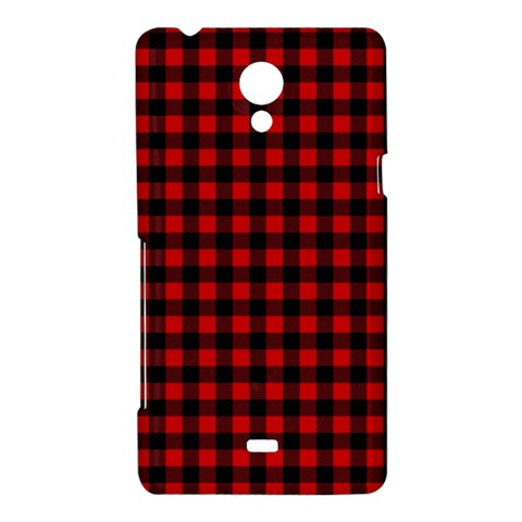 Lumberjack Plaid Fabric Pattern Red Black Sony Xperia T