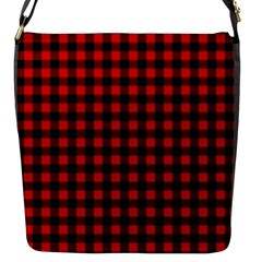 Lumberjack Plaid Fabric Pattern Red Black Flap Messenger Bag (S)