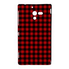 Lumberjack Plaid Fabric Pattern Red Black Sony Xperia ZL (L35H)