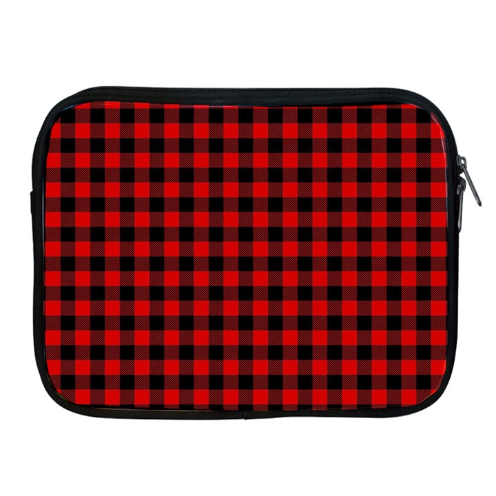 Lumberjack Plaid Fabric Pattern Red Black Apple iPad 2/3/4 Zipper Cases