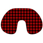 Lumberjack Plaid Fabric Pattern Red Black Travel Neck Pillows Back