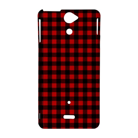 Lumberjack Plaid Fabric Pattern Red Black Sony Xperia V
