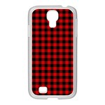 Lumberjack Plaid Fabric Pattern Red Black Samsung GALAXY S4 I9500/ I9505 Case (White) Front