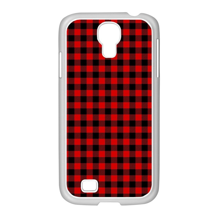 Lumberjack Plaid Fabric Pattern Red Black Samsung GALAXY S4 I9500/ I9505 Case (White)