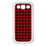 Lumberjack Plaid Fabric Pattern Red Black Samsung Galaxy S3 Back Case (White) Front