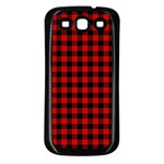 Lumberjack Plaid Fabric Pattern Red Black Samsung Galaxy S3 Back Case (Black) Front