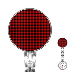 Lumberjack Plaid Fabric Pattern Red Black Stainless Steel Nurses Watch