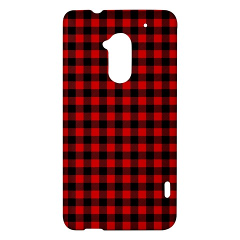 Lumberjack Plaid Fabric Pattern Red Black HTC One Max (T6) Hardshell Case