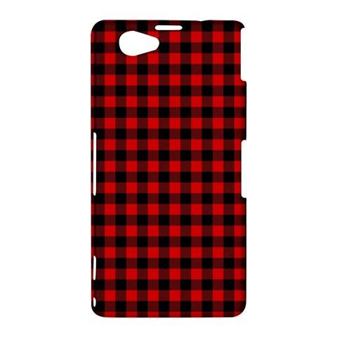 Lumberjack Plaid Fabric Pattern Red Black Sony Xperia Z1 Compact