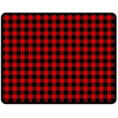 Lumberjack Plaid Fabric Pattern Red Black Double Sided Fleece Blanket (Medium)
