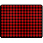 Lumberjack Plaid Fabric Pattern Red Black Double Sided Fleece Blanket (Medium)  60 x50 Blanket Front