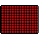 Lumberjack Plaid Fabric Pattern Red Black Double Sided Fleece Blanket (Large)  80 x60 Blanket Front