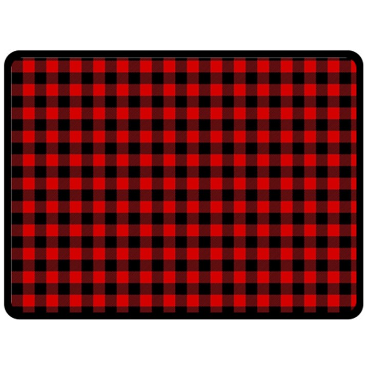 Lumberjack Plaid Fabric Pattern Red Black Double Sided Fleece Blanket (Large)
