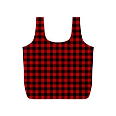 Lumberjack Plaid Fabric Pattern Red Black Full Print Recycle Bags (S)