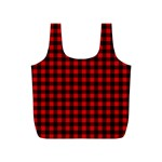 Lumberjack Plaid Fabric Pattern Red Black Full Print Recycle Bags (S)  Back