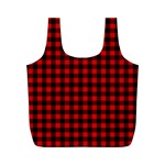 Lumberjack Plaid Fabric Pattern Red Black Full Print Recycle Bags (M)  Back