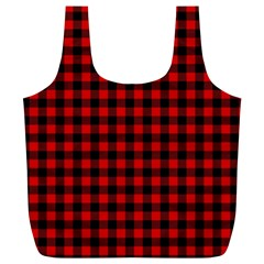 Lumberjack Plaid Fabric Pattern Red Black Full Print Recycle Bags (l)