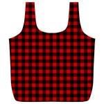 Lumberjack Plaid Fabric Pattern Red Black Full Print Recycle Bags (L)  Back