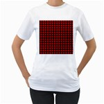 Lumberjack Plaid Fabric Pattern Red Black Women s T-Shirt (White)  Front