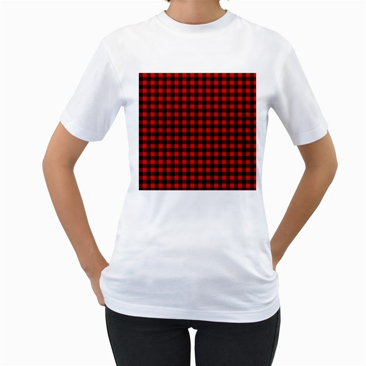 Lumberjack Plaid Fabric Pattern Red Black Women s T-Shirt (White)