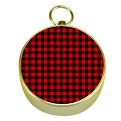 Lumberjack Plaid Fabric Pattern Red Black Gold Compasses